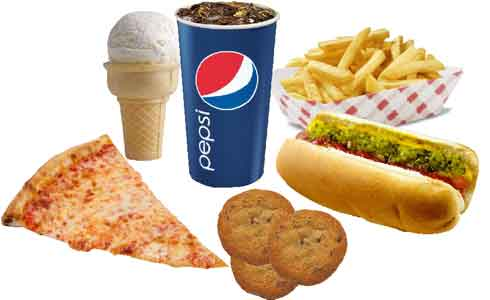 pizza, fries, hot dog, soda